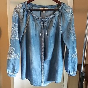 Vintage America women's embroidered blouse sz M